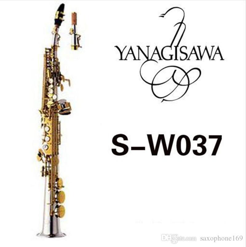 Nuevo YANAGISAWA W037 Saxofón soprano Latón Tubo chapado en plata Llave de oro Sax con boquilla Cañas Cuello doblado Envío gratis