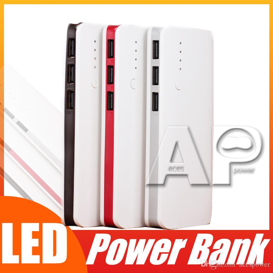 Лучшие продажи Высокое качество Портативный 20000mAh Power Bank 3 USB LED Light зарядное устройство резервного копирования для Samsung Note 10 Huawei