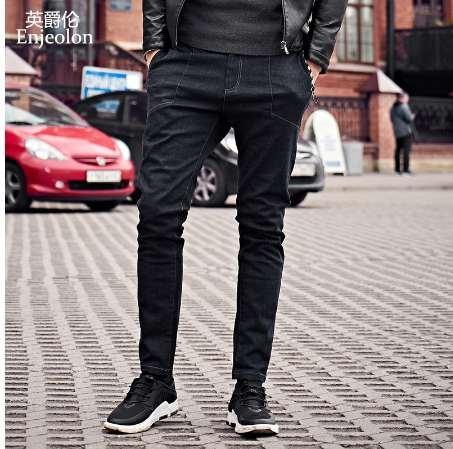 Enjeolon di alta qualità a lungo completo pantaloni dei jeans uomo, abbigliamento in tessuto di cotone maschi causali solidi pantaloni neri KZ6143