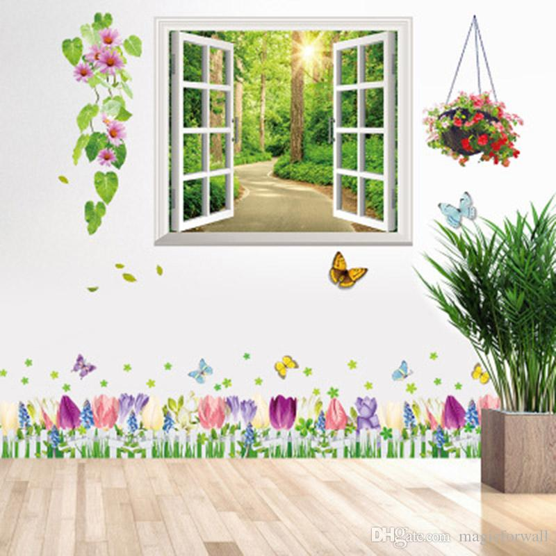 Early Morning Road in Woods Window View Wall Stickers Flowers Wall Border Decal Home Decor Fake Window Scenery Wall Mural Poster