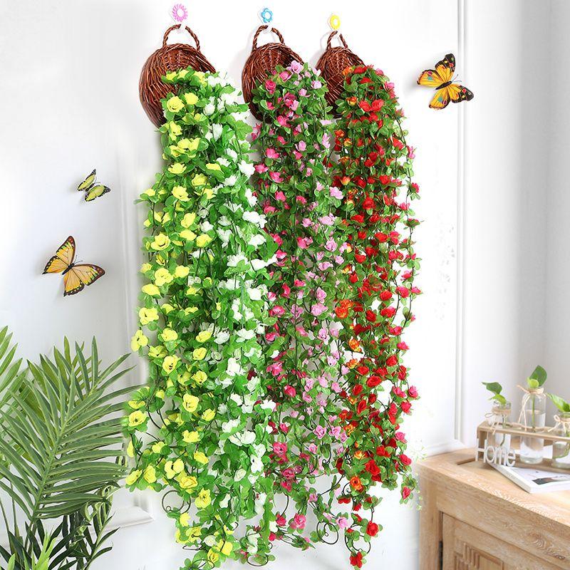 Cadena hecha a mano de la flor artificial 230cm Vine orquídeas colgando Suministros fiesta de la boda de la guirnalda pared del hogar DIY Decoración