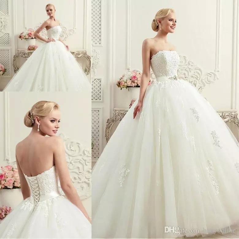 Vestidos A Line Wedding Dresses Corset Back with Sash Appliqued Strapless Bridal Gowns Floor Length CG01