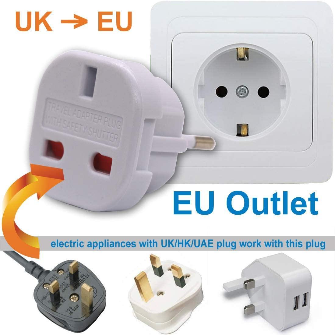 Travel Adaptor for UAE/UK Convert to EU Type C Socket (NOT E/F plug) with Safety Shutter , UK to EU plug)