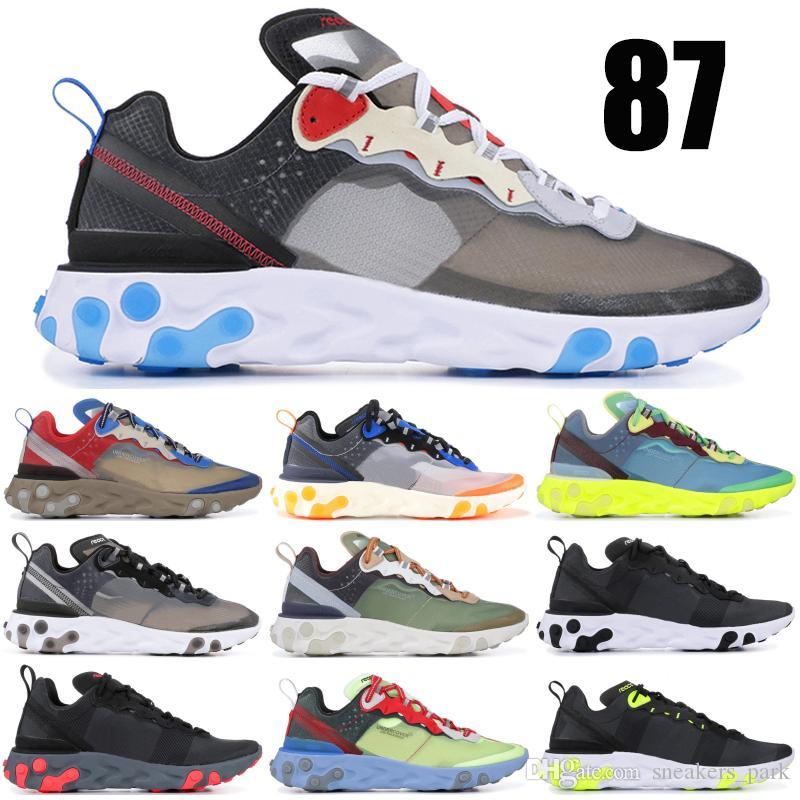 Nova undercpver x próximo elemento de reação 87 homens runing shoes azul frio solar bule antracite preto esporte designer de tênis 36-45