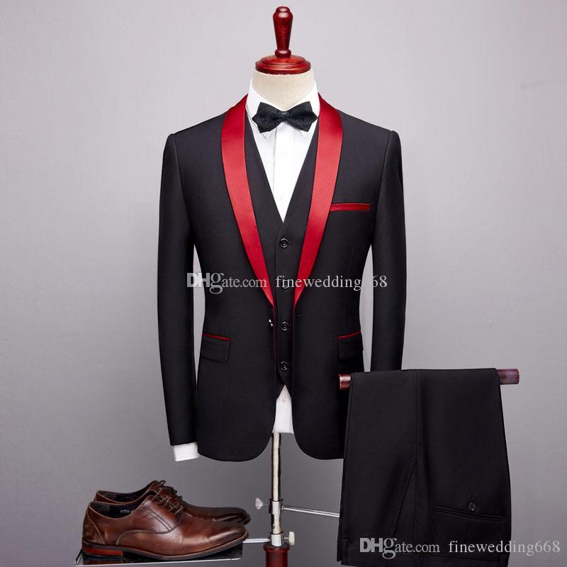Os mais recentes One Button Groomsmen xaile lapela do noivo smoking Homens ternos de casamento / Prom / Jantar melhor homem Blazer (Jacket + Tie + Vest + calça) 533