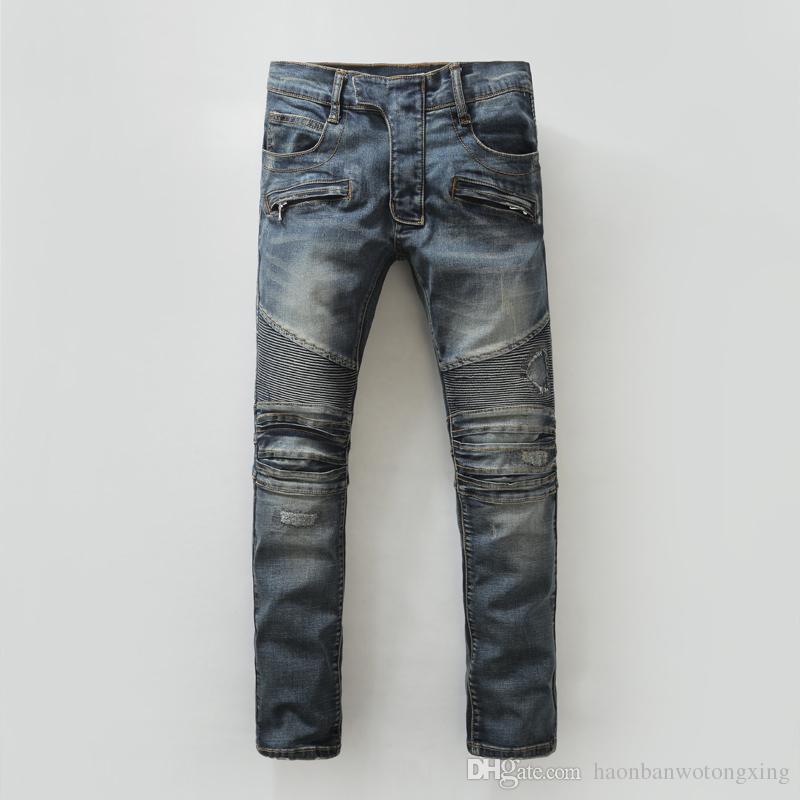 2019 Erkekler Jeans Üst Kalite Delikler fermuarlar ince uygun Sıkıntılı pamuk mavi Denim kot mens sıska