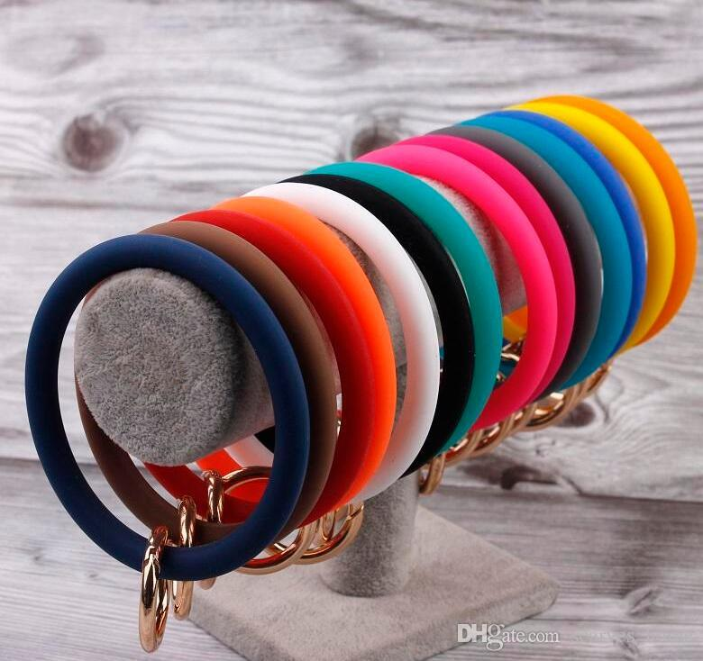New Silicone Solid Color O Keychain Wristlet Circle Cute Key Ring Wrist Strap Keychain Wholesale For Women Girls