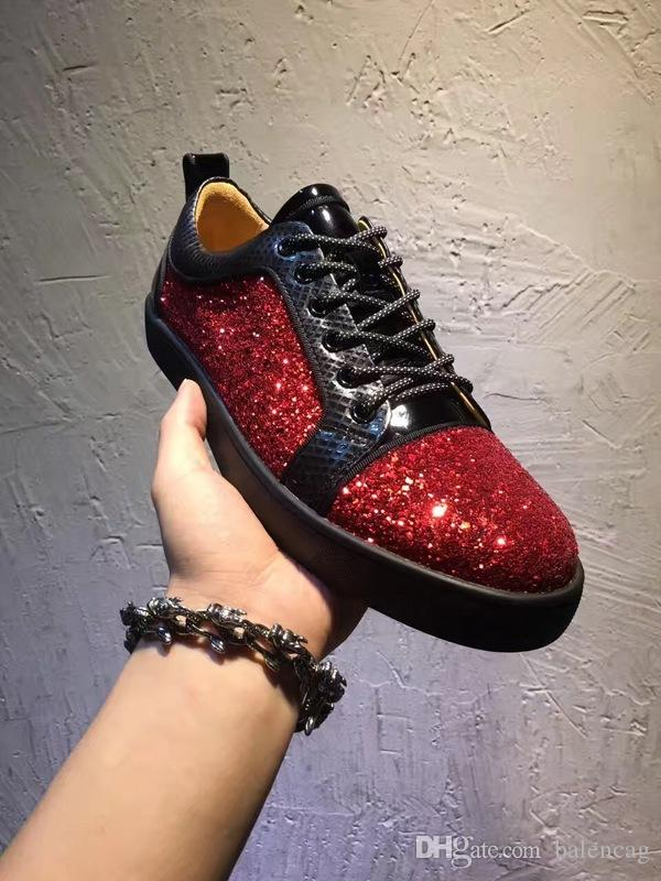 Red Bottom Rhinestone Strass Low Shoes,Luxury Designer Men's Women Red Sole Top Sneakers Crystal Rhinestone Trainers Couple Size