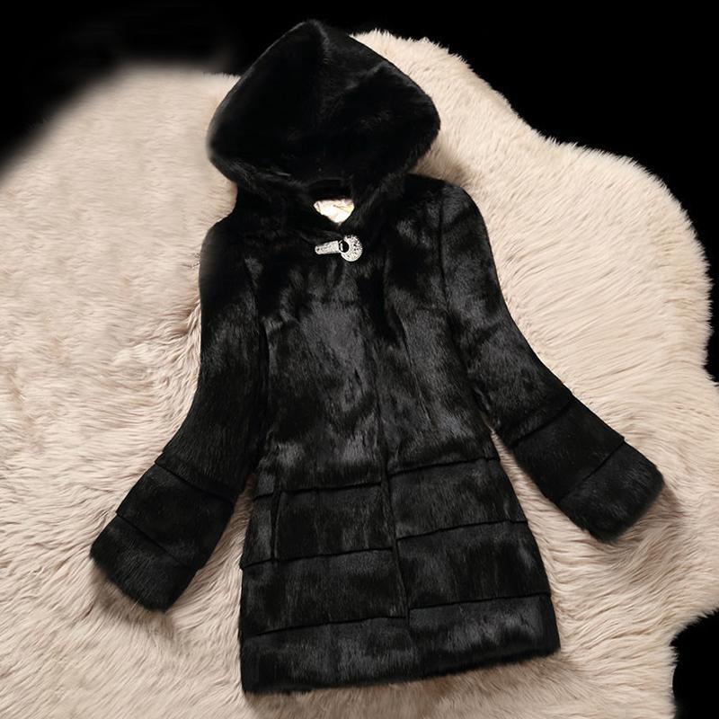 Plus Size Coelho com capuz Natural casacos de pele Casacos Mulheres de pele real Jackets 2019 Nova Colecção Outono-Inverno Top T200319 Jacket