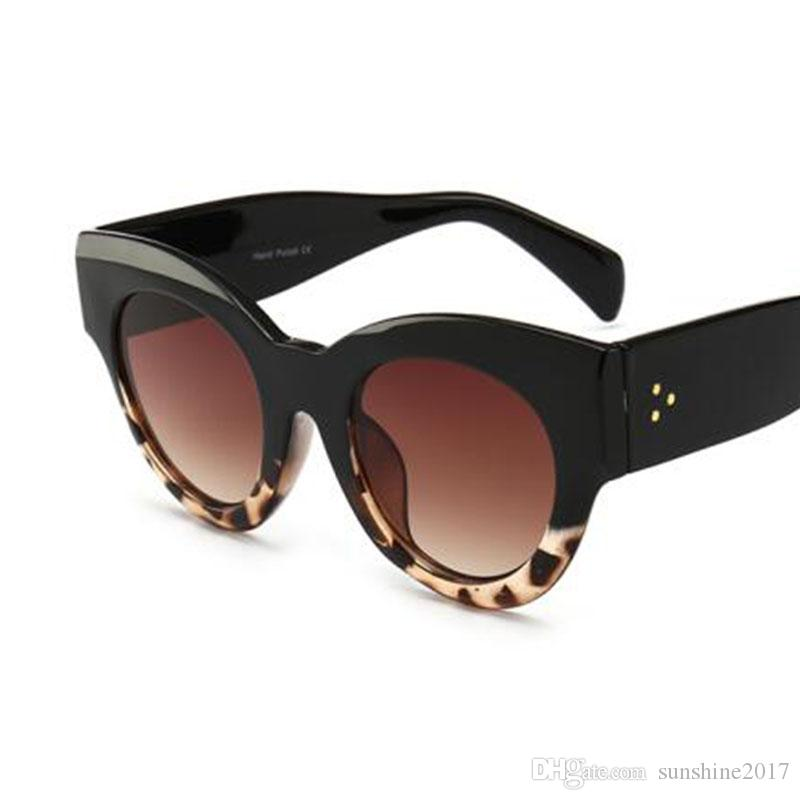 nuovo stile 3d3ee a1393 Thick Frame Cat Eye Sunglasses Ladies Sunglasses 2018 Plastic Vinta Black  Leopard Sun Glasses Female Circle Glasses Big Frame Polarized Sunglasses ...