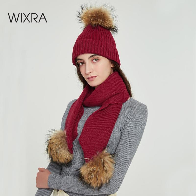 Wixra Kürk Ball Cap Poms + Örme Eşarp 2 Adet Set Kış Giyim kasketleri Cap Yeni Kalın Kadın Sonbahar