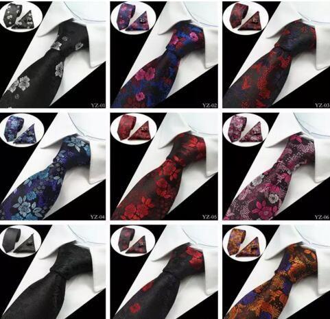 20 Estilos Conjuntos de corbatas para hombre Conjuntos de corbatas de seda 100% jacquard de seda Gravata Corbatas Hanky Gemelos Conjunto de corbatas para hombres Corbatas de boda formales