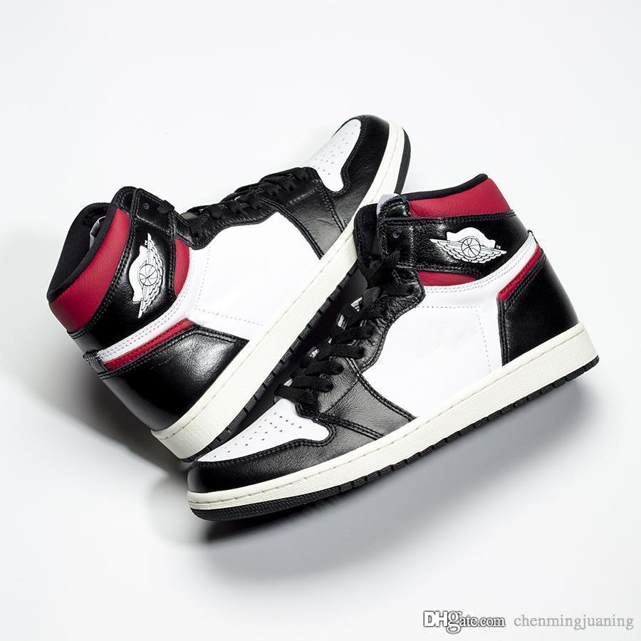 2019 Otantik 1 OG Yüksek Siyah Spor Kırmızı 1 S Beyaz Yelken Adam Kadın Basketbol Ayakkabıları Spor Sneakers Orijinal Kutusu Ile 555088-061