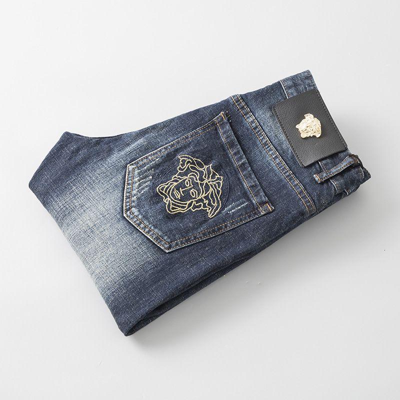 Pop Wear Fit Homens de Moda de Nova Original Design Homens Moda Jeans qualidade perfeita Calças reta calças bordado 8889
