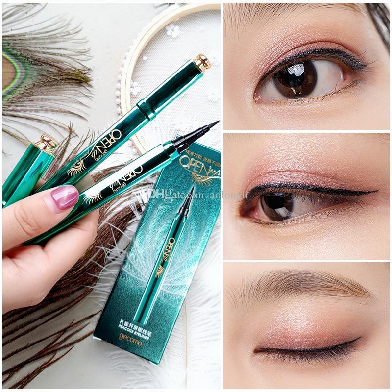 Peacock Eyeliner Pen líquido preto Lápis Delineador de longa duração Waterproof Maquiagem Eye Liner Beauty Cosméticos Ferramentas Gecomo Peacock Abertas