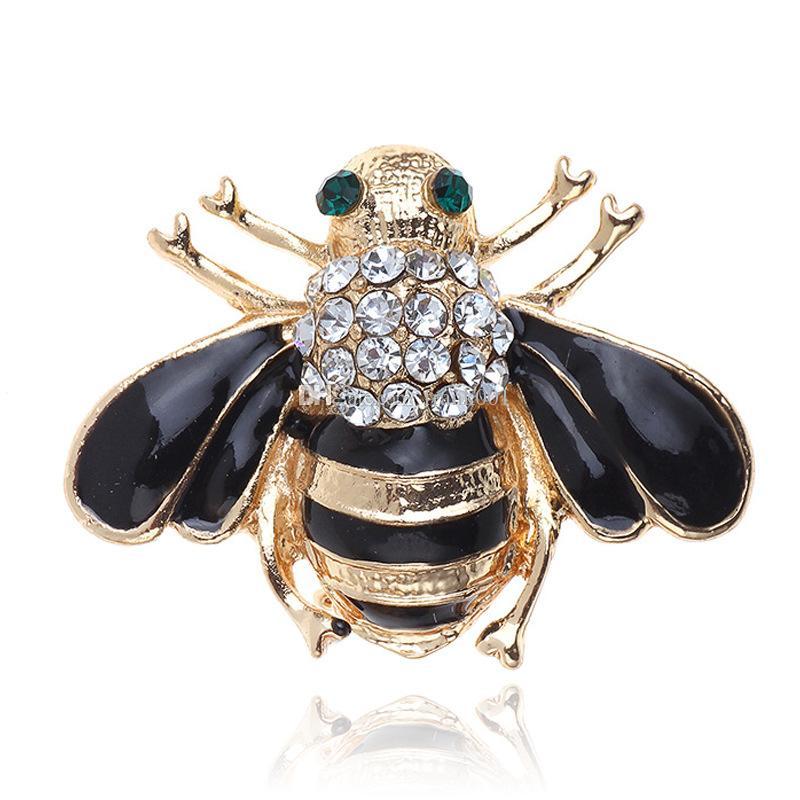 여자 섬세 한 작은 꿀벌의 브로치 크리스탈 라인 석 핀 브로치 에나멜 브로치 쥬얼리 선물 여자를위한 남성용 브로치