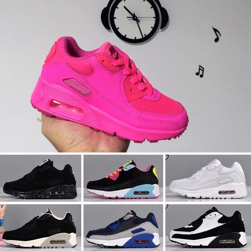 Nike Air Max 90 2018 Chaussures Printemps Automne 90 enfants rose rouge noir Respirant enfants Confortable Chaussures de sport tout-petits Garçons Filles Chaussures bébé Eur 28-35