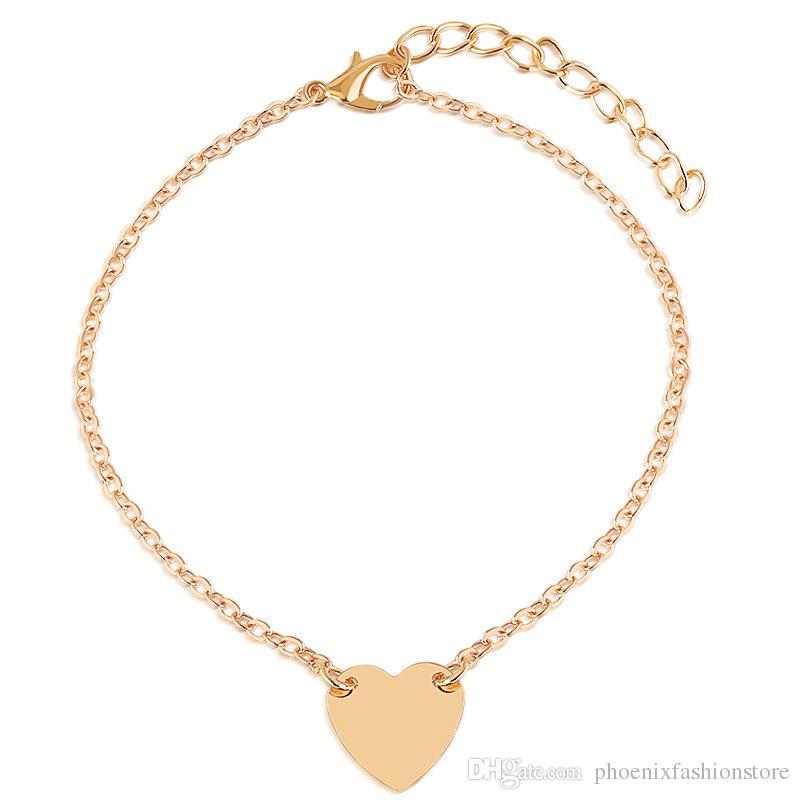 DIY Simple Handmade Rope Bracelet Men Adjustable Minimalist String Personality Heart Bracelet Love Anklet Women Jewelry