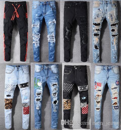 Jetzt Herren Designer Jeans in Used-Reißverschluss-Loch-Mann-Jeans-Qualitäts-beiläufige Jeans-Männer dünne Biker Pants Blau Big Size 28-40