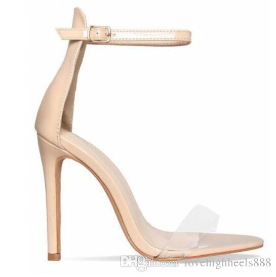 Rosa de Ouro Vermelho de Couro de Patente Mulheres Bombas Abertas Toe Tira No Tornozelo Fivela Mulheres Sandálias Clara PVC Sapatos de Salto Alto Mulheres