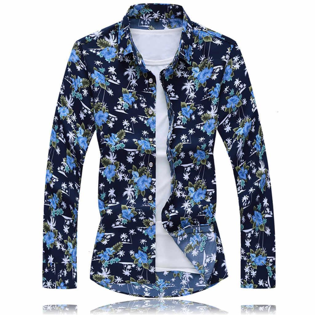 С длинным рукавом Повседневные пляж гавайские рубашки 2019 Мужские рубашки осень Мода Повседневная Long Beach рукавом свободная блуза M-6XL