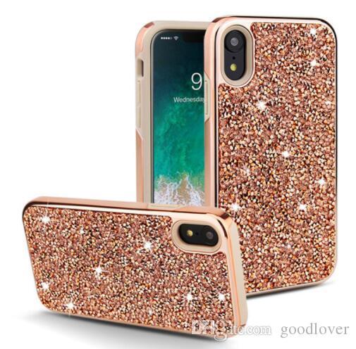 Premium bling 2 in 1 Luxus Diamant Strass Glitter Telefonkasten Für iphone 6 7 8 X XS Max Für Samsung S10 S10E Hinweis 8 S9 S9 +