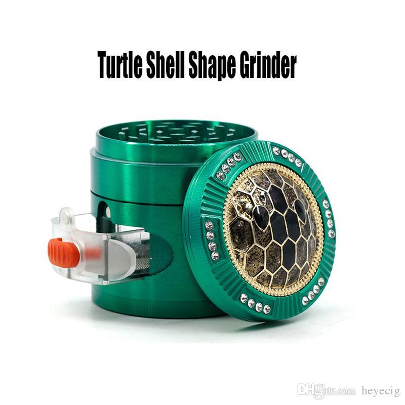 Turtle Shell Shape Grinder 63mm Herb Grinder Metal Grinder Crystal Cover With Drawer 4 Parts Herb Spice Crusher Side Window Grinders