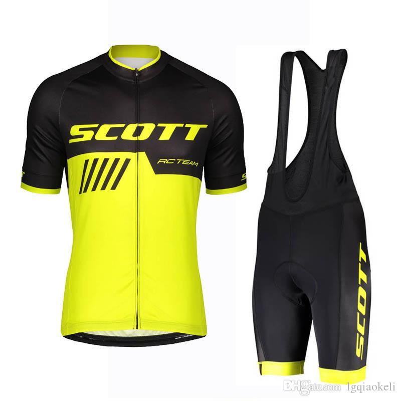 2020 Verão SCOTT Equipe Men Ciclismo Jersey BIB Gel 3D Pad Set Ciclismo Roupa Ropa Ciclismo Ciclo Maillot Roupa K121610