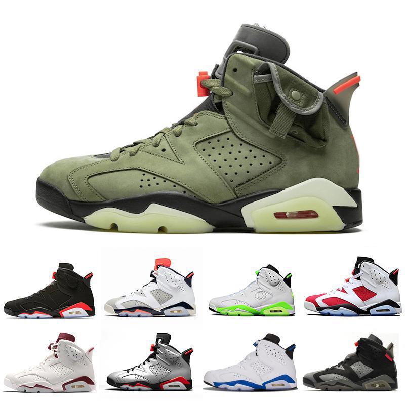 ترافيس سكوتس X Nike Jordan Retro 6 المتوسطة الزيتون كرة السلة للرجال الأحذية UNC المصلح الأسود 6 الأشعة تحت الحمراء صبار جاك الرياضة الأزرق ولاية أوريغون رجل الرياضة رياضة 7-13