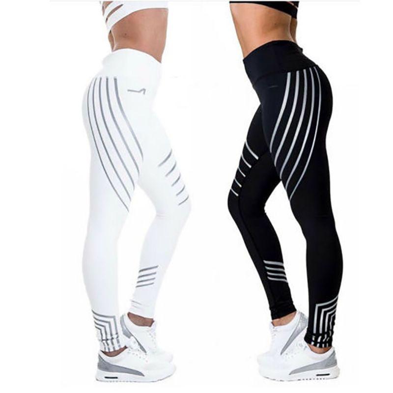 Spor Siyah Beyaz Çizgili Pembe Yeşil Kadın spor Koşu Kadınlar Yoga Pantolon Seksi Gym spor Tozluklar Yüksek Bel Egzersiz