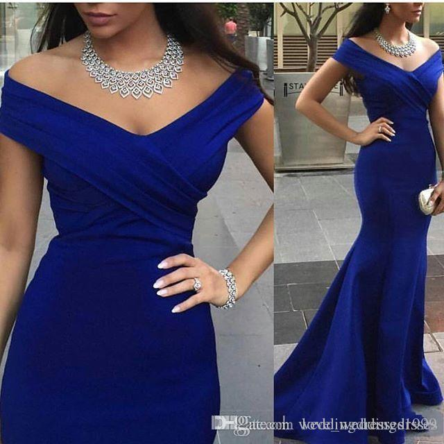 Charming Royal Blue Evening Prom Gowns Backless Formal Party Dresses 2019 Occasion Mermaid Off Shoulder Capped Celebrity Arabic Dubai