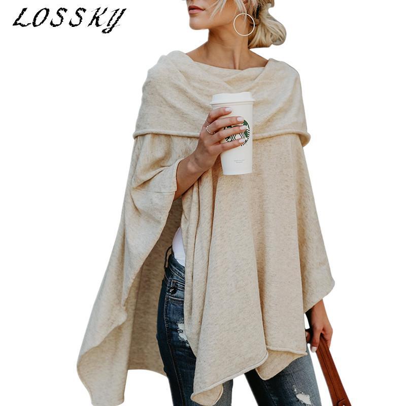 Lossky Hombro Mantón de la blusa ocasional sólida raya vertical Loose cuello flojo irregular de las mujeres otoño oscilación Batwing manga Blusas camisas