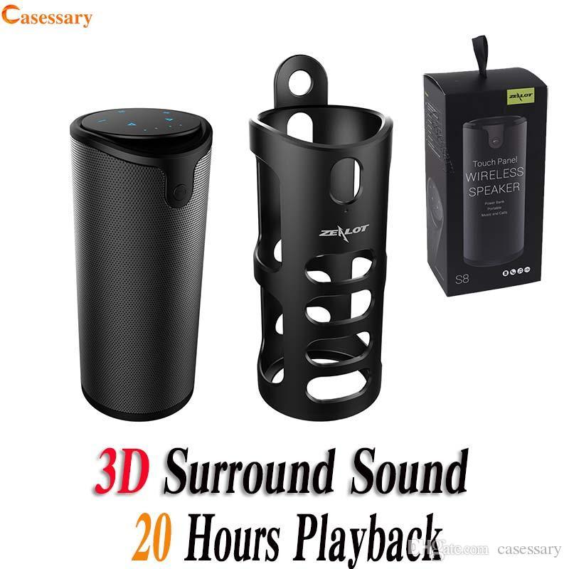 ZEALOT S8 Controle de Toque Portátil Sem Fio Bluetooth Alto-falantes com Tampa Sling Aux Audio TF Cartão Speaker Party 3D Stereo Com Pacote de Varejo
