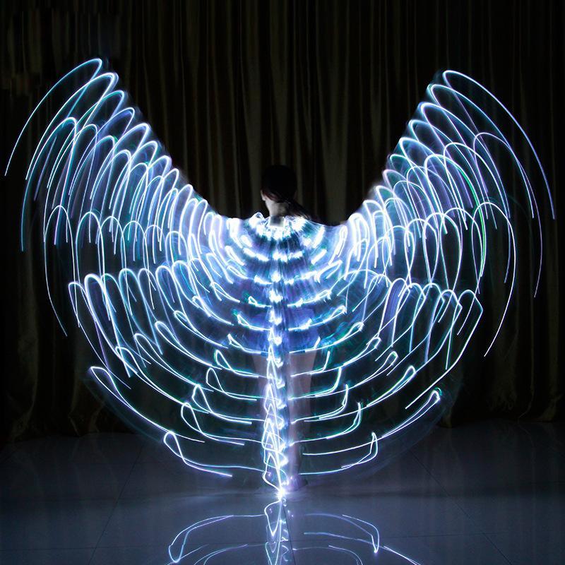 Novo LED Asas Varas Ajustável Adulto LEVOU Glowing Wing 360 Graus Asas Dança Do Ventre Adereços de Dança de Incandescência