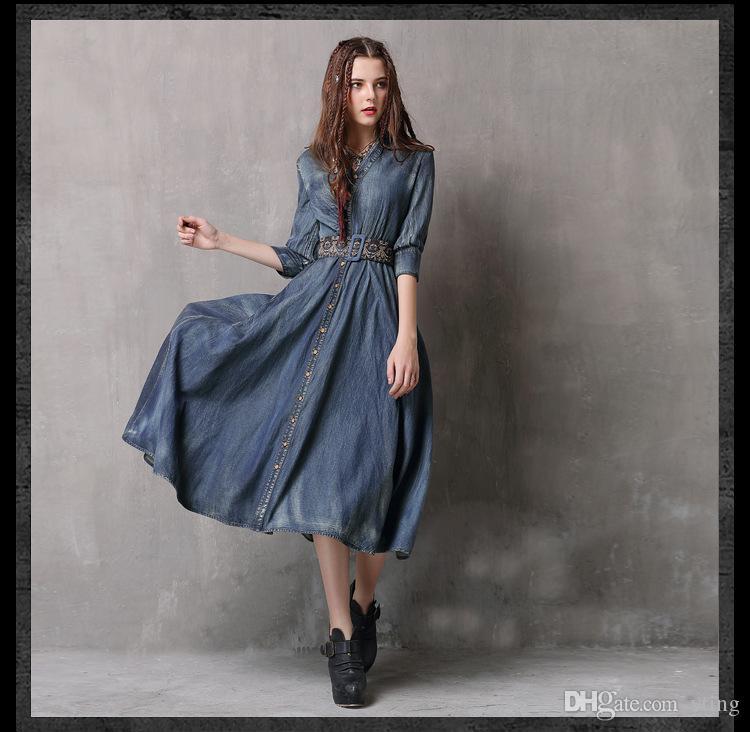 Spring New Women\'S Dress Irregular Denim Skirt Vintage Belt Embroidered Mid  Sleeve Dress Plus Size Teen Party Dresses Affordable Evening Dresses From  ...