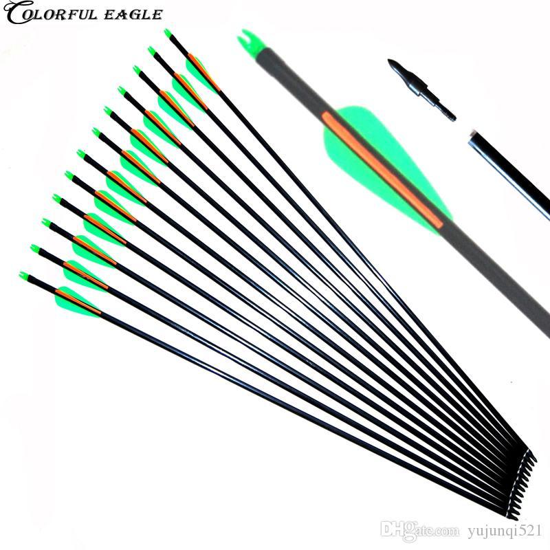 12 sztuk, 31.5inch-28inch Spine 500, Blue White Target Practice Point Archery Strzałki z włókna szklanego do polowania Związek Recurve Bow