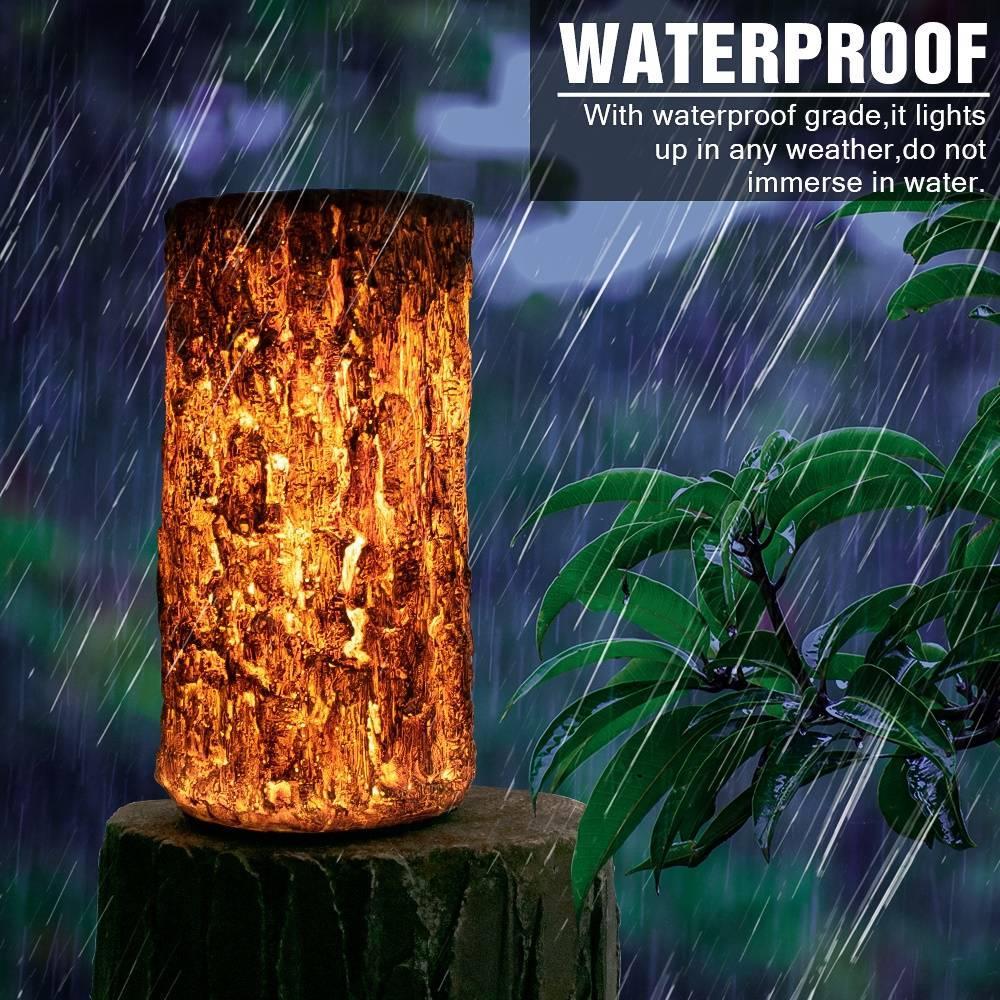 Açık Enerji Peyzaj Lambası Su geçirmez Güneş LED Peyzaj Açık Kahverengi Stump Işık Güneş Paneli Yerleşik tasarrufu