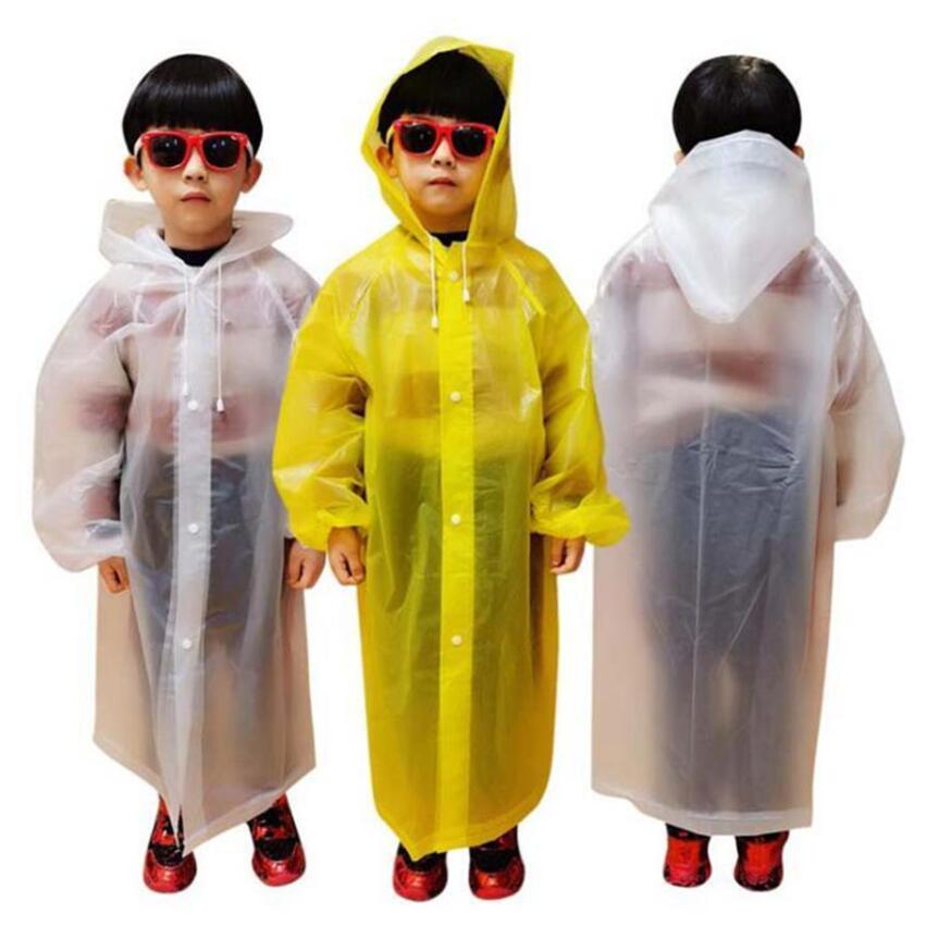 Kids Raincoat 110*55cm 4 Colors EVA Children Waterproof Rain Coat Clear Transparent Tour Rainwear Suit LJJO7847