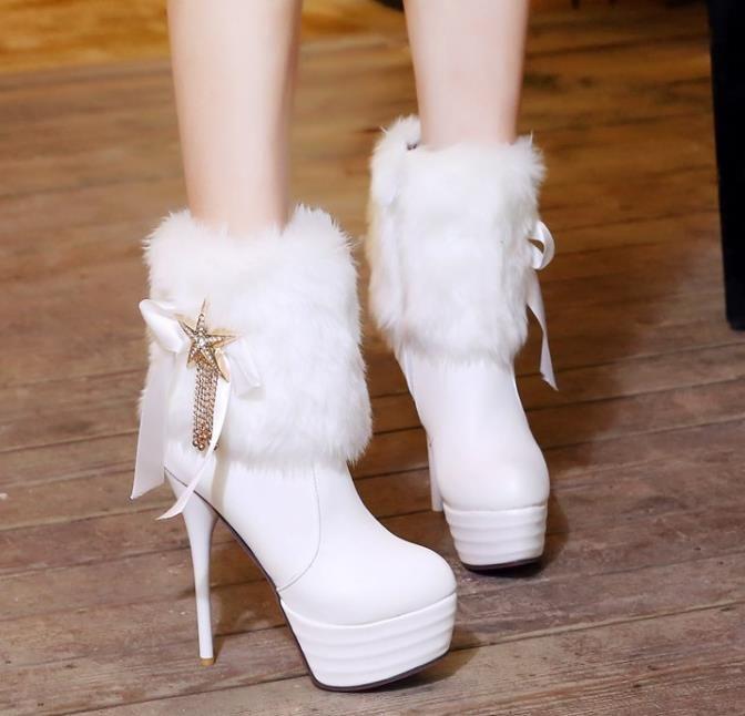Sıcak satış-seksi beyaz kürk çizmeler platformu yüksek topuklu ayak bileği patik lüks kadın tasarımcı bot eleagnt