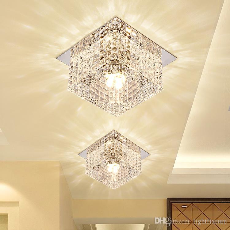 Kare LED Spot Lambası Modern Kristal Cam 5 W LED Tavan Işıkları Oturma Odası Fuaye Koridor Sundurma Kristal Downlight Dia10cm