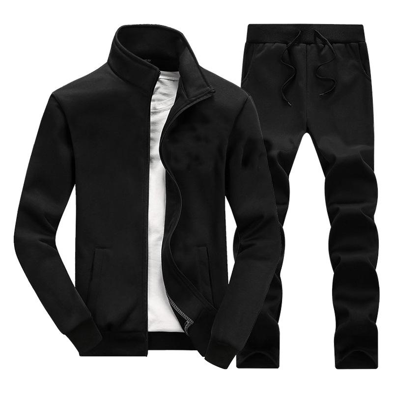 Autumn and Winter New Mens Jacket Pants Two-Piece Solid Color Sports Jacket Casual Loose Pants Sports Two-Piece Set
