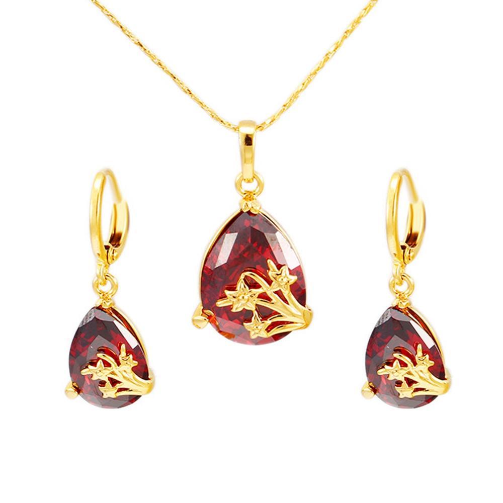 Set di gioielli orecchini pendenti con pendente a goccia rosso Yellw Gold Filled Delicate Fashion Fashion