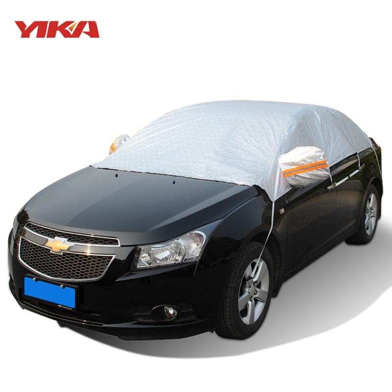 YIKA Universal Half Car Covers Thicken Waterproof Sunshade Heat Insulation Dustproof Anti-UV Scratch-Resistant Snow Protection