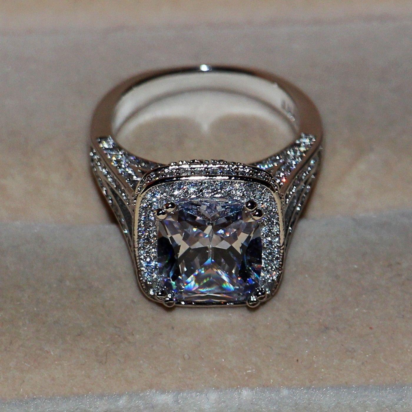 Key4fashion Marque Desgin Livraison gratuite Bijoux De Luxe 14kt d'or blanc rempli 192 Pcs Topaze Diamant Simulé Weddiong Bague Bague cadeau Size5-11
