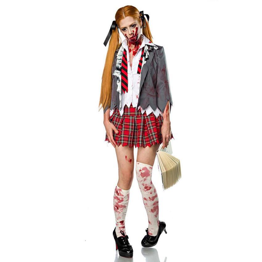 Cosplay traje de Halloween para mujer de miedo Colegiala zombi del vampiro Set Fiesta de Carnaval del horror sangriento Estudiante Traje Uniforme