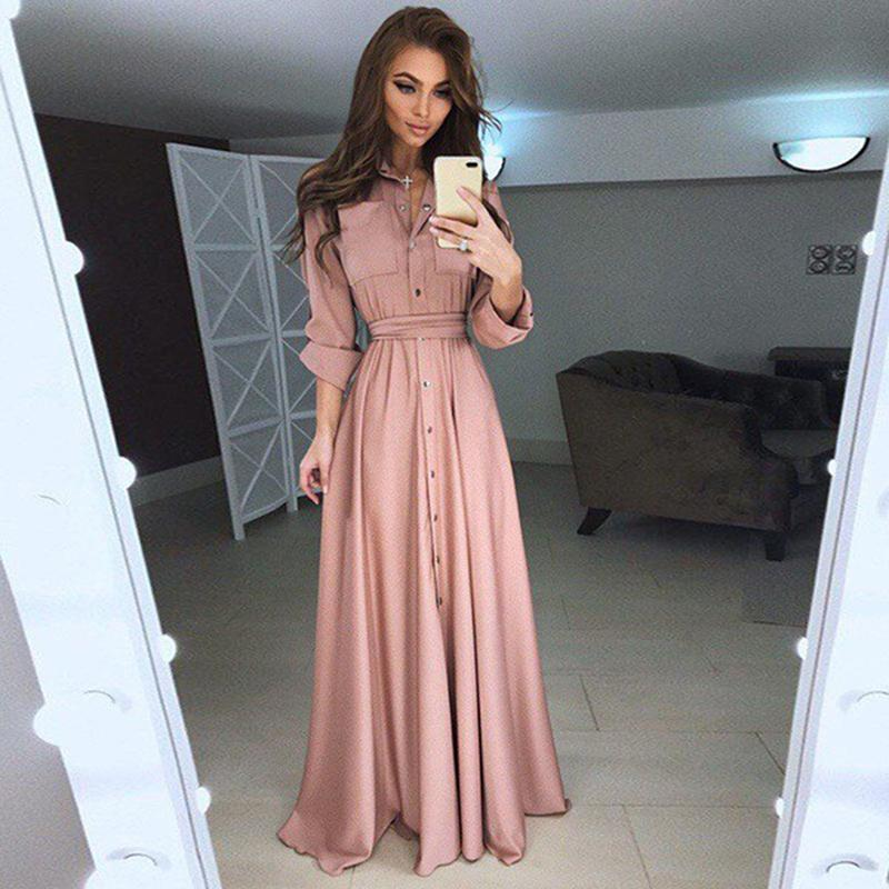 Herbst Frauen Maxi Kleider Sexy V-ausschnitt Casual Dress Langarm Bodenlangen Split Boho Solide Lange Weihnachten Vestido