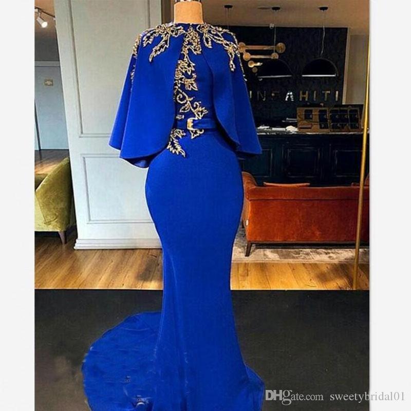 Pelerin Cape Altın Boncuk Arapça Dubai Kadınlar Tasarımcı Uzun Abiye Parti törenlerinde ile Vintage Royal Blue Mermaid Abiye