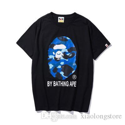 2020 여름 원숭이 티셔츠 새로운 일본어 잉어 프린트 T 셔츠 오프 남성의 레저 라운드 넥 반팔 화이트 저스틴 비버 (Justin Bieber) 셔츠 저렴한 판매