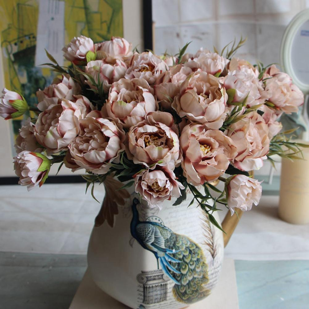 2 Bouquet European Pretty Wedding Party Mini Peony Silk Artificial Flower Bride Bouquet For Home Wedding Party Garden Decoration