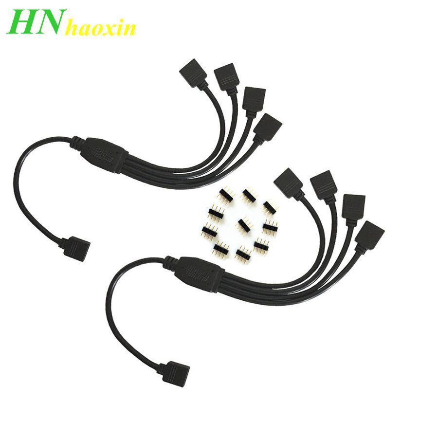 HaoXin 4-poliger RGB-Stecker Kabelstreifen Buchse zu Buchse Verteiler Verlängerungskabel für 3528 5050 RGB-LED-Streifen